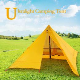 сверхлегкие палатки для альпинизма Скидка Ультралайт 2 человек палатка портативный рюкзак палатка двухстороннее силиконовое покрытие водонепроницаемые открытый кемпинг