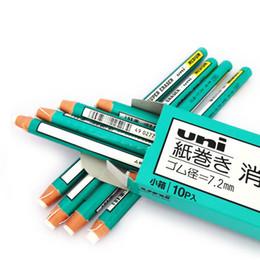 Lápiz lápiz de goma online-Al por mayor-1pcs Eraser Roll Eraser Pen Used with Tear Details Innovative Green Rubber Writing Drawing Eraser Lápiz envío gratis