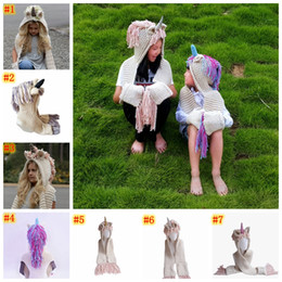 sciarpe da golf Sconti Unicorn Hooded Scarf Earflap cappello lavorato a maglia cappello caldo per bambini animale unicorno forma sciarpa scialle di un pezzo nappa cap MMA924