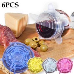 Wholesale Cover Setting - 6PCS Set Universal Silicone Suction Lid-bowl Pan Lid-silicon Stretch Lids Silicone Cover Pan Spill Lid Stopper Cover FFA291 Camp Kitchen
