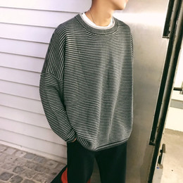 Wholesale Japan Size Clothes - 2018 Newest Men's Fashion Brand Coats Stripe Knitting Clothes Loose Casual Sweaters In Warm Woolen Pullover Plus Size S-2XL