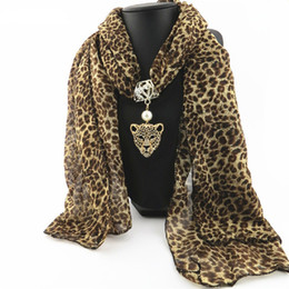 Wholesale leopard print scarves for women - Autumn and Winter Fashion Rhinestone Leopard Head Pendant Leopard Scarf Necklace For Women New Neckerchief Scarves Jewelry