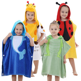 Wholesale Velour Robes - Little kids Animal Bathrobe Towel Boys Girls Thick Cotton Flannel Nightgowns Hooded Night-Robe Cloak Cap Absorbent towel
