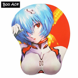 Wholesale silicone mouse pads - EVA Anime 3D Soft Breast Mouse Pad mat with silicone gel Wrist Rest for PC gaming