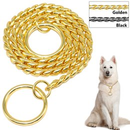 Wholesale heavy duty dog - Snake Chain Dog Training Collar Pet Show Collar Heavy Duty Metal Chain P Choke Collars Strong Chrome Gold Black 3mm 4mm 5mm