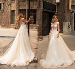 Wholesale Empire Jewel - Champagne Elegant Capped Sleeves Wedding Dresses 2018 Sheer Neck Illusion Bodices Lace Appliqued Country Bridal Gowns Vintage Wedding Wear