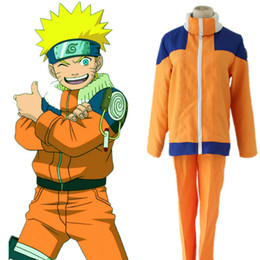 Wholesale Japanese Costumes Adult - Japanese Anime Naruto Cosplay Costume Adult Cosplay Naruto Uzumaki Costume For Party Fighing Uniform with Headband Free Shipping