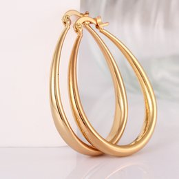 Wholesale 24k Gold Earrings For Women - whole saleNew Fashion Jewelry 24k Gold Hoop Earrings for Women pendientes aros brincos Free shipping boucle d'oreille Women Ear Loop Oval