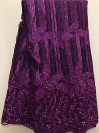 5 ярдов / лот 2018 высокое качество нигерийский французский кружева африканские кружева ткань для женщин платье пурпурный Африка кружева ткань HLL3380 от