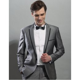 Wholesale tuxedos for men green - Black Edge Jacket As Groom Tuxedos Hot Sale Groomsman Suit Wedding suit Custom Made Man Suit for Man Clothes (Jacket +pants)