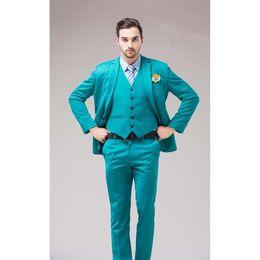 2019 esmoquin verde azul 2018 Green Blue Groom Tuxedos Notch Lapel Trajes de los hombres Turquesa Novio Cena de boda Mejores trajes de hombre (chaqueta + pantalones + corbata + chaleco) esmoquin verde azul baratos
