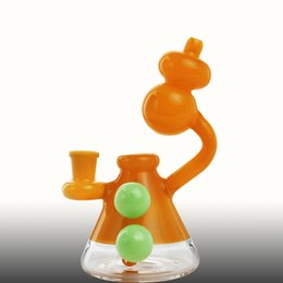 Due ball bong online-Tubi d'acqua di vetro di colore arancione Bong con due sfere verdi 14mm Femmina di dimensioni comuni Recycler Oil Rig Fondo Dab Bubbler