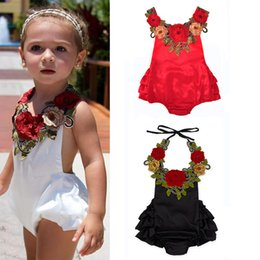 Wholesale white black lace romper - Girls Romper Embroidered Flowers Baby Girls Rompers Suspenders Lace-up Split Joint Floral Jumpsuit Cotton Summer Spring Autumn 0-24M