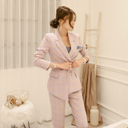 Wholesale Trousers Suits For Women - Women's suit ( Jacket + Trousers ) 2 Piece Ladies Office Wear Suit Womens Business Sets With Pants Formal Pant Suits For Women