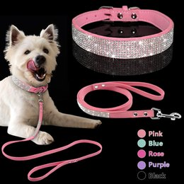 Wholesale dog collars leashes rhinestones - Adjustable Suede Leather Puppy Dog Collar Leash Set Soft Rhinestone Small Medium Dogs Cats Collars Walking Leashes Pink Xs S M