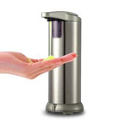 soap foaming pump wholesale UK - 280lm Automatic Liquid Soap Dispenser Stainless Steel Sensor Soap Dispenser Pump Shower Kitchen Soap Bottle for Bath Washroom