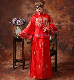 clothes married Promo Codes - Red Chinese Wedding Bride Cheongsam Traditional Style marry Evening Dress Embroidery Long Qipao Womens Clothing Size S - XXL