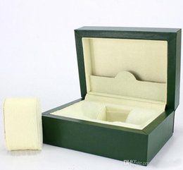 Wholesale Crown Gift Boxes - High Quality Wooden Boxs Green Watchs Boxes Gift Box Crown Wooden Box Brochures Cards Green Wooden Box For Rolex Watch