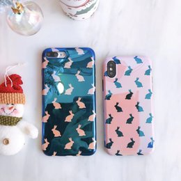 Wholesale Bunny Iphone Covers - Fashion Blu-Ray Lovely Rabbit Bunny Back Cover Soft TPU Phone Shell Laser Case For iPhone X 8 7 6 Plus Support Custom Pattern
