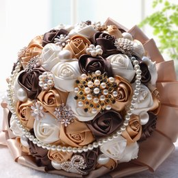 Deutschland Wunderschöne Kaffee Hochzeit Blumen Brautsträuße Peals Kristall Strass Rose Künstliche Hochzeit Bouquet Sparkle Handmade Blumen 197RLL Versorgung