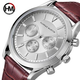кожаные ремни Скидка Hannah Martin Quartz Watches Men Top  Waterproof Fashion Male  Sport Relojes Leather Band Hand Wrist Watch