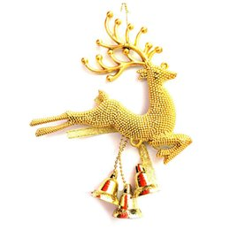 Wholesale Tree Bell Ornaments - 1PCS Sliver Gold Deer Xmas Tree Bell Baubles Hanging Christmas Festival Ornaments Decoration