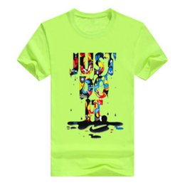 Wholesale green personality - JUST DO IT Pring Summer Men's Youth Fashion Casual Personality Color with Letter Printing Round Neck Short Sleeve Bottoming T-Shirt 14Color