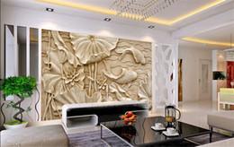 2019 chinesische wandschnitzereien Gefälschte Holzschnitzereien Relief Gemälde Neue Klassische Chinesische Große Fresko 3D Stereo Tapeten Wohnzimmer TV Hintergrund Wand Lotus Fisch günstig chinesische wandschnitzereien