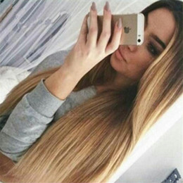 Wholesale Lace Front Wigs Promotions - 2017 Hot Sales Promotion for ombre dark roots 1B#27# honey blonde Full Lace Wig Lace Front Wig 100% Human Hair