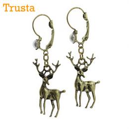 """Wholesale Deer Earring - Trusta 2017 Vintage Bronze Charm 0.5""""X1.1""""Deer Dangle Earring Faux Pearls Girls Lady ZSM"""