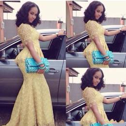 lacet fashion nigeria Promotion Africain 2018 Mode Robe Longo O Cou À Manches Courtes Sirène Longueur De Plancher de bal robe Jaune Dentelle Élégant Style Nigeria Robes