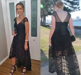 Wholesale Open Lower Back Short Dress - Sexy Black High Low Prom Dresses 2018 V neck Back Lace Bodice With Short Sleeves Evening Cocktail Dress Party Formal Gowns Open Back
