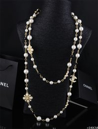 Wholesale halloween plastic skeleton - Top Quality Celebrity design Letter Flowers Pearl Chain necklace Fashion Metal Letter diamond necklace Jewelry With Box