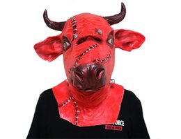 Vaca cosplay online-MostaShow Devil Cow Head Mask Latex Full Headgear Pascua, Halloween, Cosplay Masquerade Masks