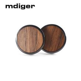 Jóia com botão de madeira on-line-Mdiger moda rodada de madeira abotoaduras para camisa dos homens de madeira abotoaduras para botões de festa de casamento abotoaduras cavalheiros jóias