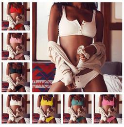 2019 cinghia panty gratuita Bursting Fashion Swimwear Lady Gather Together Button Donna Split Bikini Sexy Costume intero Due pezzi Pure Colorl BBA300 50PCS