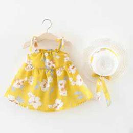 Argentina Verano nuevas niñas pequeñas falda de playa ropa de bebé faldas florales para niños vestido de correa de bebé femenino con sombrero cheap female beach hats Suministro