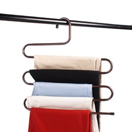 Wholesale Trouser Racks - 5 Layer Magic Stainless Steel Trousers Rack Tie Hanger Suit Pants Storage Rack L S Size