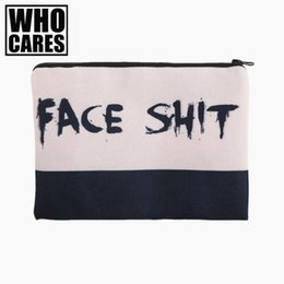 Wholesale face pencils - Face Shit 3D Printing simple makeup bag neceser 2018 Fashion Cosmetic case women trousse de maquillage organizer pencil case