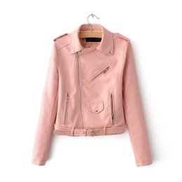 Wholesale Slimming Bomb - Handsome Motorcycle PU LeatherJacket Bomb Coat Female Autumn Bomber Jackets Women Zipper Coats Badge 2018 Women's Spring Jacket