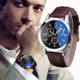 Argentina VENTA CALIENTE 2018 Top Brand Luxury Fashion Faux Leather Watches Mens Blue Ray Glass Reloj analógico de cuarzo Reloj Reloj Dropship cheap dropship mens fashion Suministro