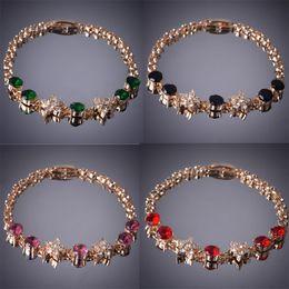 14k brazaletes online-3 color 8 '' Mujeres 14k chapado en oro Rhinestone Amatista pulsera brazalete de regalo