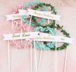 день рождения торты любви подарок Скидка Happy Birthday Garland Cake Topper Pink Green Leaf Wreath Cake Topper Sweet Love Dessert Decoration for Birthday Party Lovely Gifts