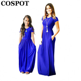 c4b19cf9764 COSPOT Mother and Daughter Summer Dress Girls and Mom Bohemian Beachwear  Long Dress Short-sleeved Plain Party 2018 New 40E