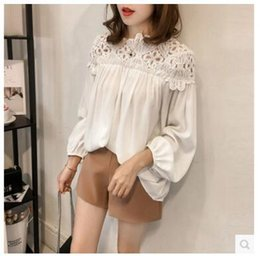 Wholesale Vintage Crochet Blouse - blouse women Loose Blouse Long Sleeve Lace Blouses Boho Tops Vintage Embroidery Flower Crochet Blouse Women Shirts