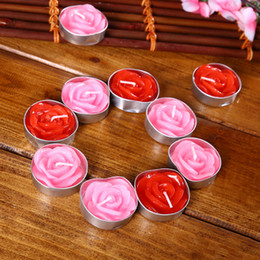 Wholesale Wax Flowers Wedding - 2018 Mini Red Pink Rose Candles Wedding Candle Festival Birthday Floating Candles Valentine's Day Decorations Gift