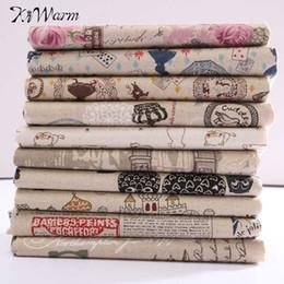 2019 padrões de artesanato em tecido KiWarm Padrões Engraçados de Algodão Tecido De Linho Quilting Patchwork Para Bonecas de Costura Fronha Artesanato Acessório 78x50 cm padrões de artesanato em tecido barato