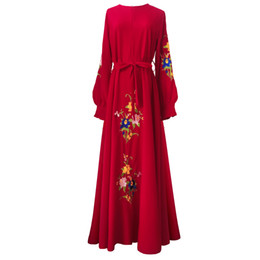 maxi swing dress Promo Codes - Floral Embroidery Islam Dress 2018 Noble Long Sleeve Muslim Women Maxi Dress Elegant A-line Big Swing Muslimic Evening