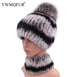 white rabbit fur scarves Promo Codes - Winter Real Rex Rabbit Fur Hat Scarf Sets For Women Casual Female Caps Scarves With Vintage Warm Fox Fur Ball 2018 New Arrival