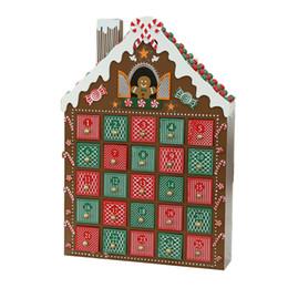 Покраска деревянный дом онлайн-Дом календаря пришествия пряника украшения Рождества деревянный с 24 внутренними покрашенными ящиками и печатанием логотипа на задней стороне